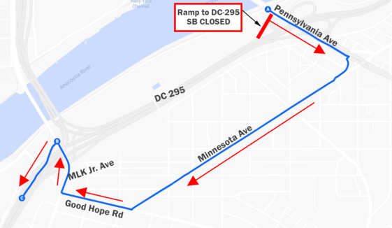 Map of DC 295 Temporary Ramp and Lane Closures