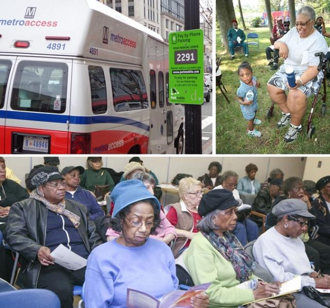 Several seniors and Metroaccess vehicle