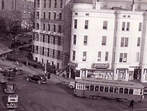 14th St NW circa 1935 - Corenr view of 14th St, NW, DC including buildinsg, autosand streetcar