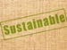 Sustainability Plan - burlap with green stenciled sustainable graphic