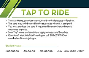 Back of Kids Ride Free Card
