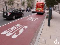 Red bus lane in washington dc