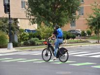 Capital Bikeshare e-bike on green bike lane