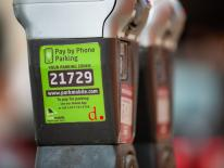 gray double-headed standard parking meter with green park mobile sticker