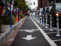 bicycle symbol on asphalt to signify bike lane
