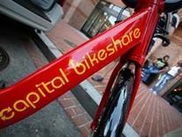 Capital Bikeshare - bikeframe with logo parked on a street in DC