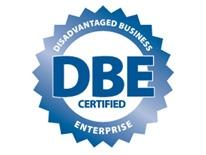 Disadvantaged Business Enterprises Certified logo - blue on white backgroun