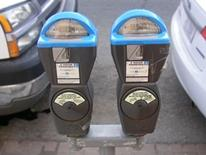 Disability Parking - blue-domed parking meters denoting reserved parking spaces for disabled motorists