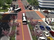 K Street Reconstruction and Revitalization - model of revitalization street view with streetcar