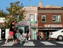 Mt. Pleasant Transportation Study - lady pushing stroller on mainstreet