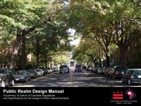 DDOT Public Realm Design Manual - manual cover showing a summer DC streetscape