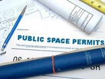 Public Space Permit Applications - blueprints, pens, and other drafting table papers and paraphernalia