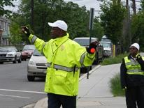 DDOT school crossing guards at work on District street corner