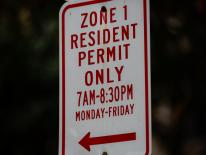 red and white residential permit parking sign
