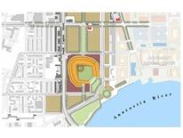 Illustrated map showing location of baseball park